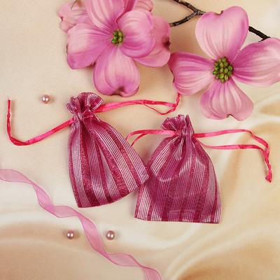"""Мешочек подарочный """"Полосы широкие"""", 7*9, цвет малиновый"""