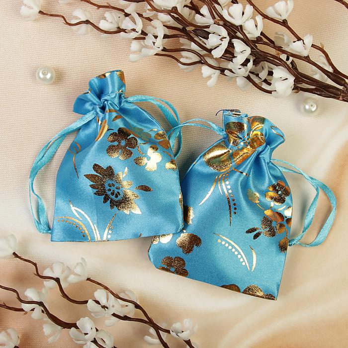 """Мешочек подарочный """"Сакура"""", 7*9, цвет голубой с золотом"""