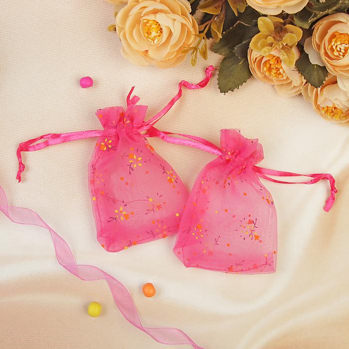 """Мешочек подарочный """"Цветочки"""", 7*9, цвет малиновый"""