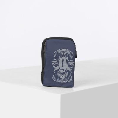 Pouch belt, division zipper, 2 outside pocket, with carabiner, color blue