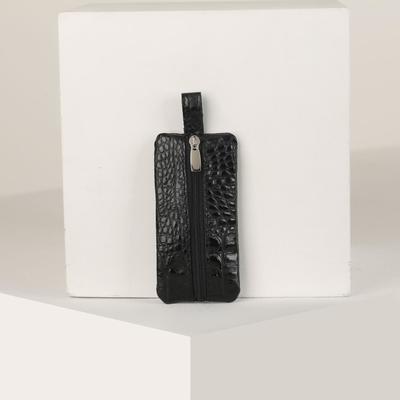 Ключница на молнии, кайман, цвет чёрный