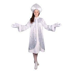 """Карнавальный костюм """"Снегурочка"""", атлас, шуба расклешённая со снежинками, кокошник, варежки, р-р 42"""
