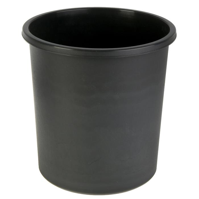 Корзина для бумаг 18 литров, цельная, чёрная, высота 325 мм