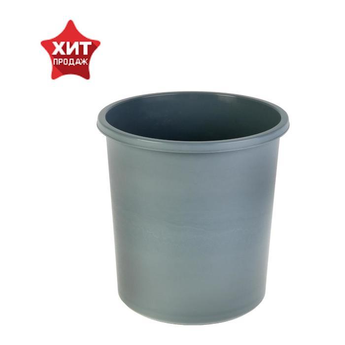 Корзина для бумаг 18 литров, цельная, серая, высота 325 мм