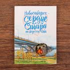 """Postcard pendant """"Novosibirsk. Bear in a balloon"""""""