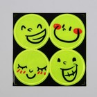 """Светоотражающая наклейка """"Смайлы"""", d=5см, 4шт на листе, цвет жёлтый"""