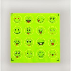 Светоотражающая наклейка 'Смайлы', d=2см, 16шт на листе, цвет жёлтый Ош