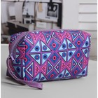 Cosmetic bag road, division zipper, with handle, color purple