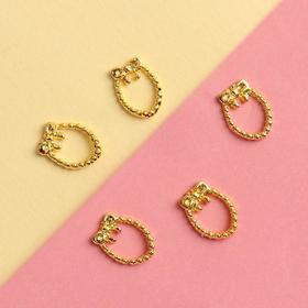 "Decorative solid element for nails ""Wreath with a bow"", 1x0. 8cm, 5pcs, color Golden"