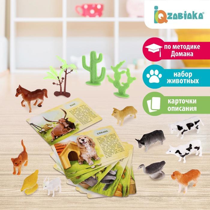 Набор животных с обучающими карточками «Фермерское хозяйство», 10 животных, 9 карточек