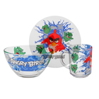 "Набор посуды ""Angry Birds. Рэд"", 3 предмета: кружка 250 мл, салатник d=13 см 450 мл, тарелка d=19,5 см"