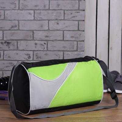 Сумка спортивная, отдел на молнии, боковой карман сетка, регулируемый ремень, цвет зелёный/чёрный