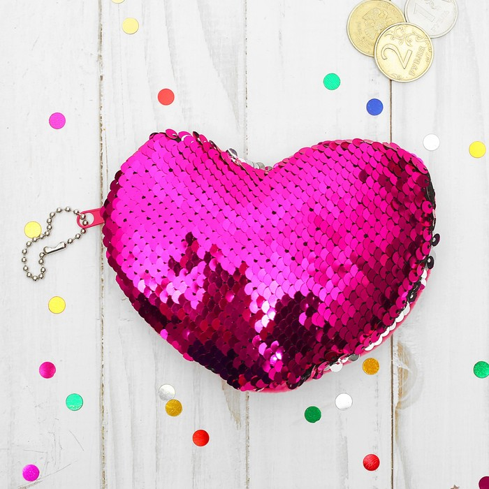 Мягкий кошелёк «Сердце», пайетки хамелеон