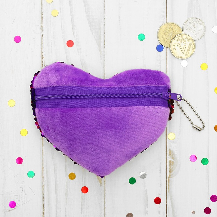 Мягкий кошелёк «Влюблённое сердце», пайетки хамелеон