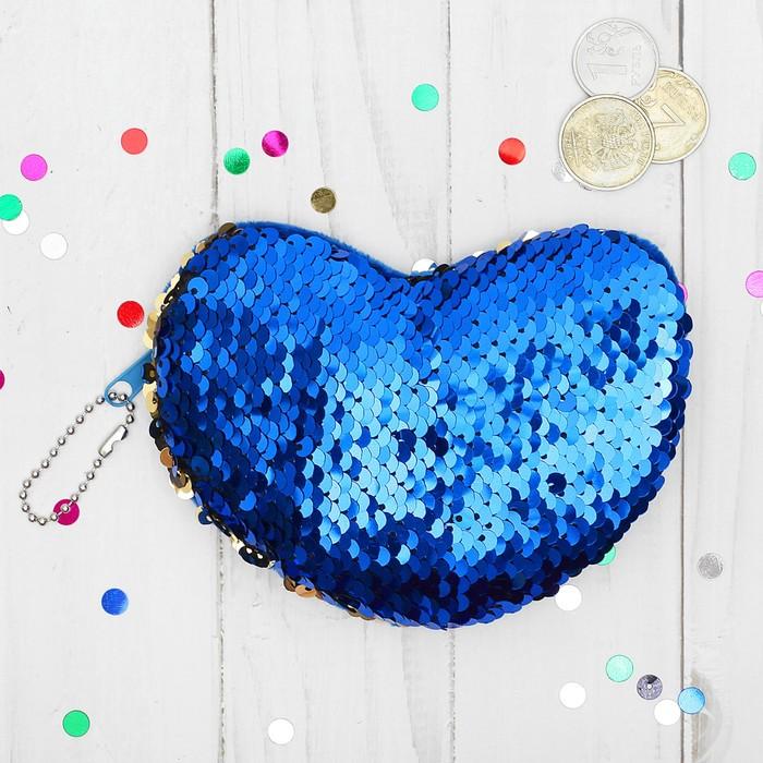 Мягкий кошелёк «Нежное сердце», пайетки хамелеон