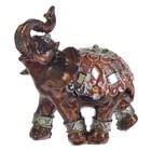 """Сувенир полистоун """"Слон с красочной попоной с зеркальными ромбами"""" 9х9х3,5 см"""