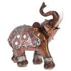 """Сувенир полистоун """"Слон с красочной попоной с зеркальными ромбами"""" МИКС 15,5х14х7,5 см"""