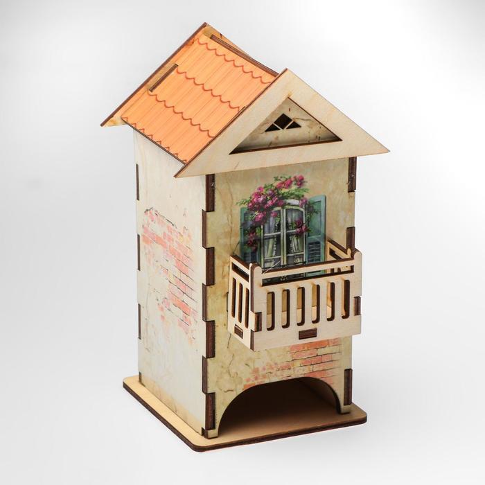 """Чайный домик """"Домик с балконом"""" цветной 12х13х19,5 см"""