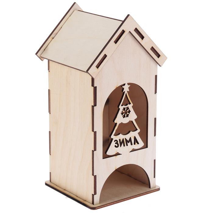 """Чайный домик из фанеры """"Зима""""  (набор 9 деталей) 9х9х20 см (ЧД-081)"""