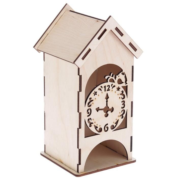 """Чайный домик из фанеры """"С часами"""" (набор 9 деталей) 9х9х20 см (ЧД-082)"""