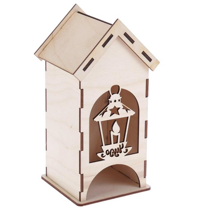 "Чайный домик из фанеры ""Со свечой"" (набор 9 деталей) 9х9х20 см (ЧД-084)"