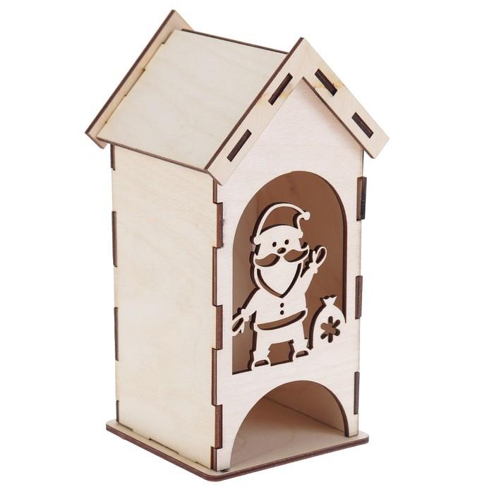 """Чайный домик из фанеры """"Дед Мороз"""" (набор 9 деталей) 9х9х20 см (ЧД-089)"""