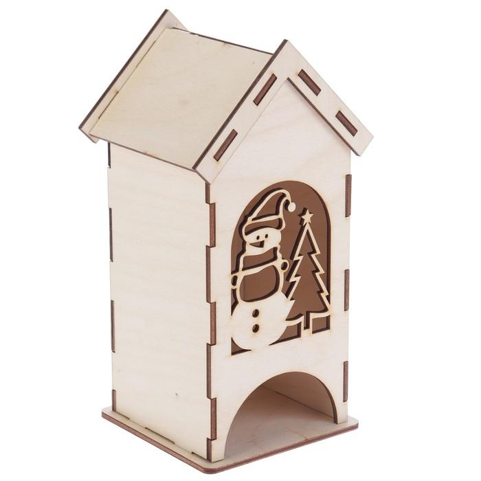 """Чайный домик из фанеры """"Снеговичок"""" (набор 9 деталей) 9х9х20 см (ЧД-090)"""