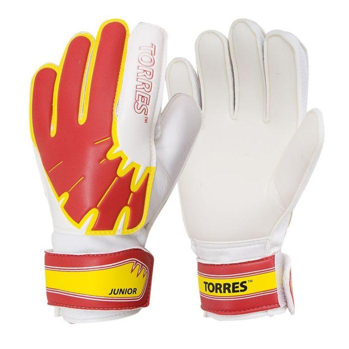 Перчатки вратарские TORRES Jr, размер 6, цвет бело-красно-жёлтый