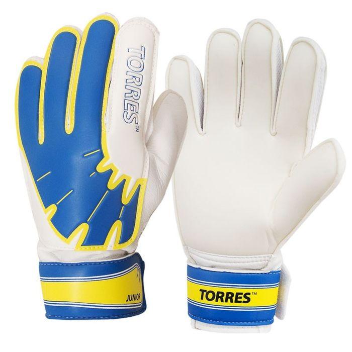 Перчатки вратарские TORRES Jr, размер 6, цвет бело-голубо-жёлтый