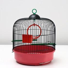 Клетка для птиц круглая, сварная, малый поддон, 33 x 33 см, микс цветов