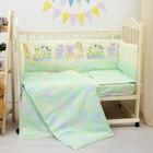 """Комплект в кровать """"Паровозик звёздочка"""" 6пр., зелёный, бязь/аэрофайбер, 120г/м, хл100%"""