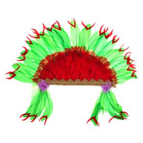 Карнавальный головной убор «Индеец», красно-зелёное перо Ош