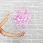 """Шар воздушный 18"""" «Праздник», прозрачный + розовый пенопласт, лента, гирлянда, насос - фото 308466312"""