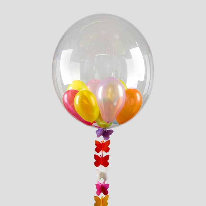 """Шар воздушный 18"""" прозрачный + 20 шаров 3"""", лента, гирлянда - фото 308466150"""