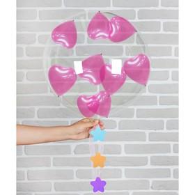 "Шар воздушный 18"" «Романтика», прозрачный + 10 шариков 3"", лента, гирлянда"