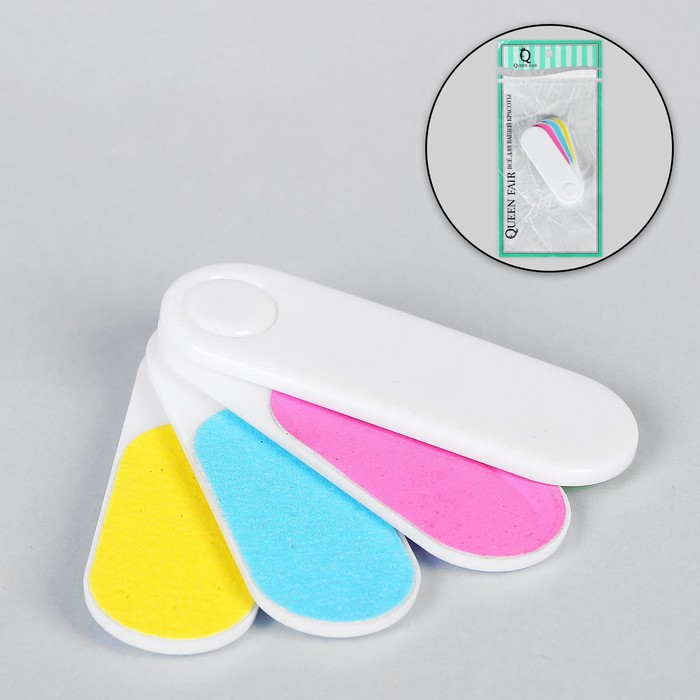 Nail file-emery, foldable, 6.5 cm, 4 in 1, classic, color neon MIX