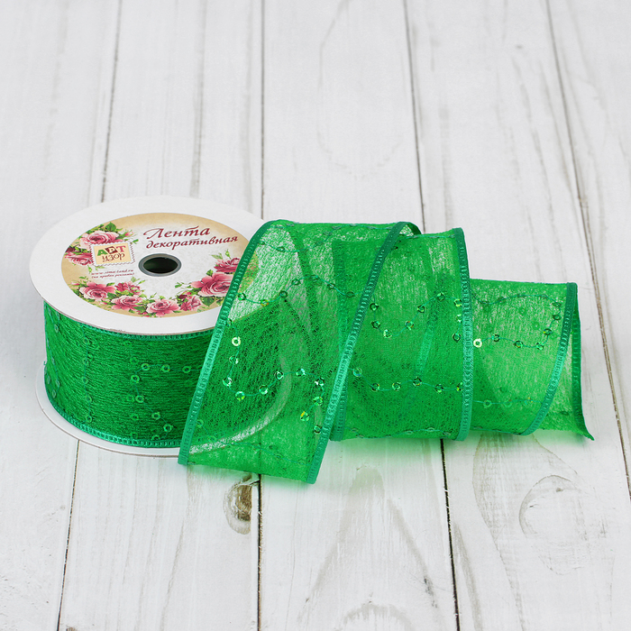 "Лента декоративная ""Пайетки"", 40мм, 9±1м, №76, цвет зелёный"