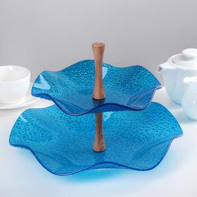 Этажерка 2-ярусная, 30х21 см, цвет синий, подарочная упаковка, основание МИКС