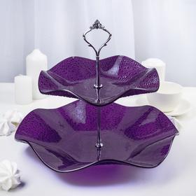 Этажерка 2-х ярусная 30×21 см, цвет фиолетовый, подарочная упаковка, основание МИКС
