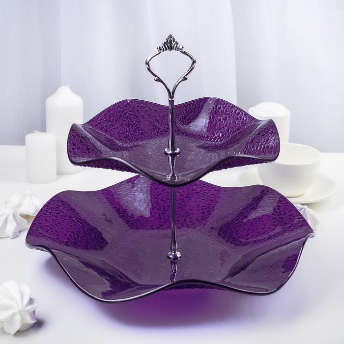Этажерка 2-ярусная 30х21 см, цвет фиолетовый, подарочная упаковка