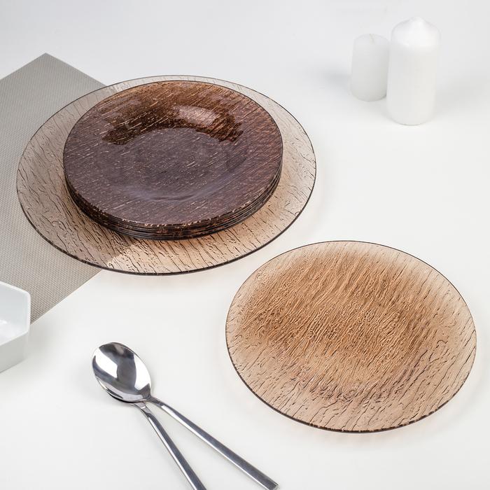 Сервиз столовый 7 предметов, цвет бронзовый, подарочная упаковка