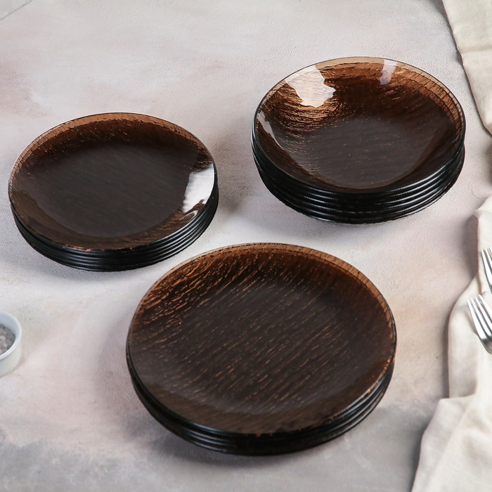 Сервиз столовый, 18 предметов: 6 шт d=18 см, 6 шт d=19 см, 6 шт d=20 см, цвет бронзовый