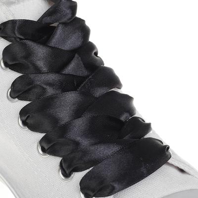 Шнурки для обуви, атласные, 20мм, 110см, пара, цвет чёрный