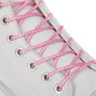 Шнурки для обуви, серебряная нить, d = 3 мм, 110 см, пара, цвет розовый