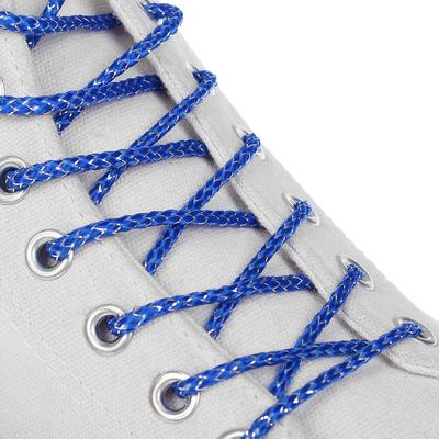 Шнурки для обуви, серебряная нить, d = 3 мм, 110 см, пара, цвет синий