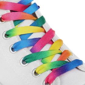 Шнурки для обуви, пара, плоские, 8 мм, 110 см, цвет «радужный»