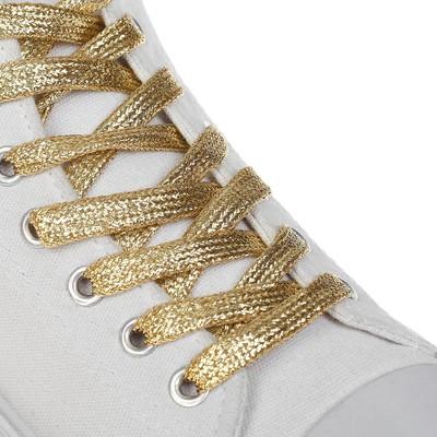 Шнурки с плоск сечением 8мм 110см (пара) золот