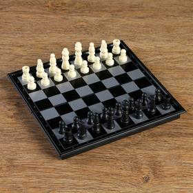 Шахматные фигуры, высота короля 3.8 см, пешки 1.9 см, пластик, чёрно-белые, в пакете в Донецке