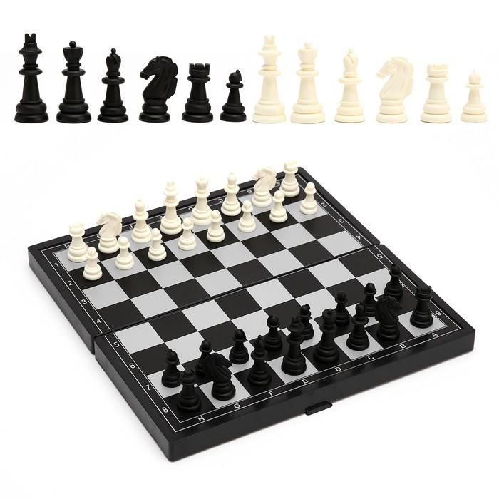 """Игра настольная магнитная """"Шахматы"""", чёрно-белые, в коробке, 24.5х24.5 см"""