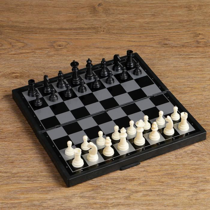 "Настольная игра, набор 3в1 ""Зук"": нарды, шахматы, шашки, магнитная доска 24.5х24.5 см"